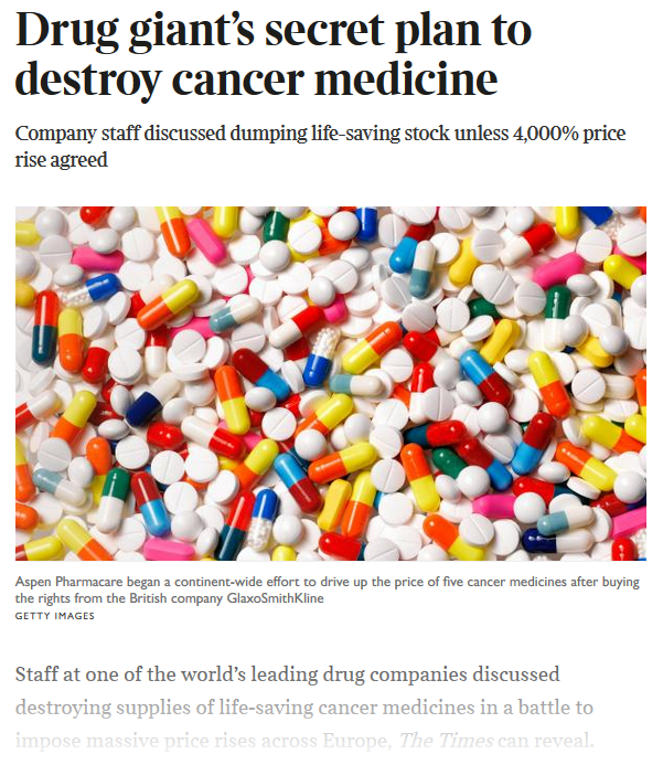 """Snapshot of the Time's """"Drug giant's secret plan,,,"""" article."""