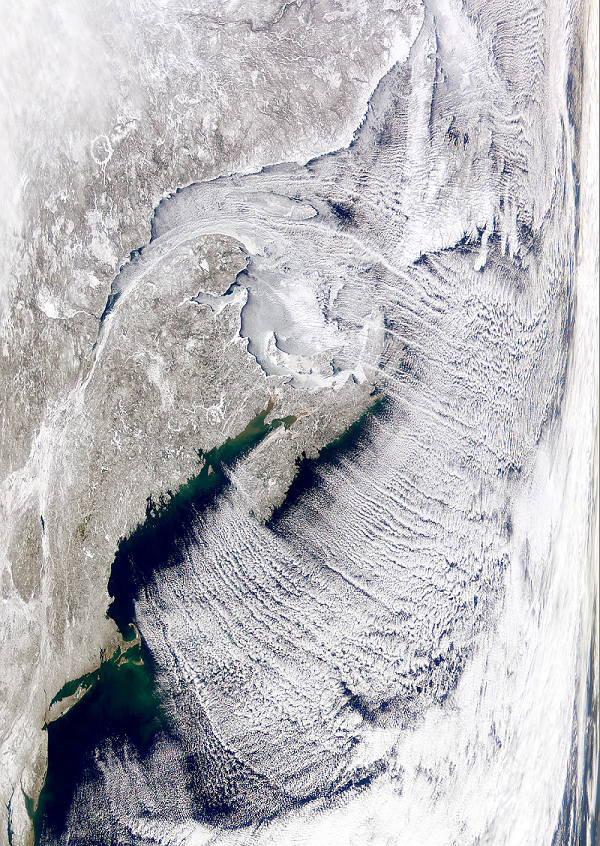 This striking cloud pattern was found over the North Atlantic in this SeaWiFS image.