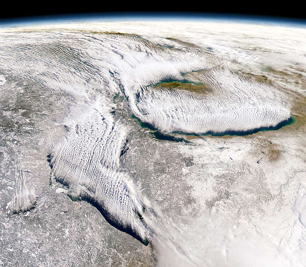 """This SeaWiFS view of the Great Lakes is a good depiction of the """"lake effect"""" that people often talk about."""
